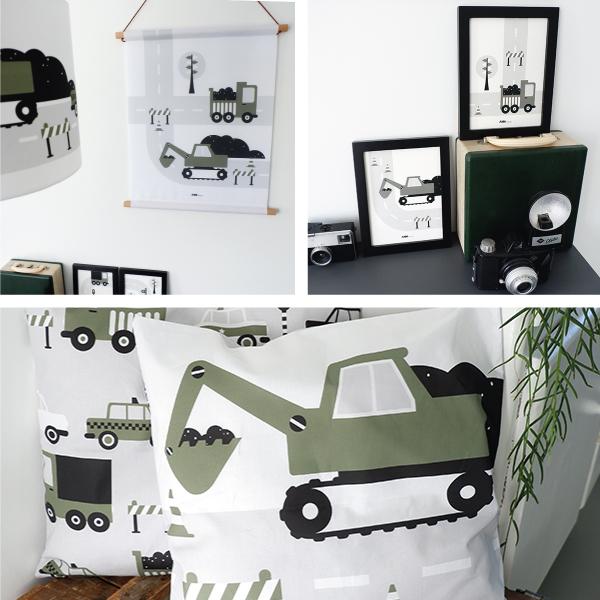 Voertuigen Graafmachine olijf groen ANNIdesign SET 1
